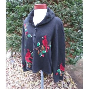 Ugly Christmas Sweater Cardinal Faux Fur Vintage